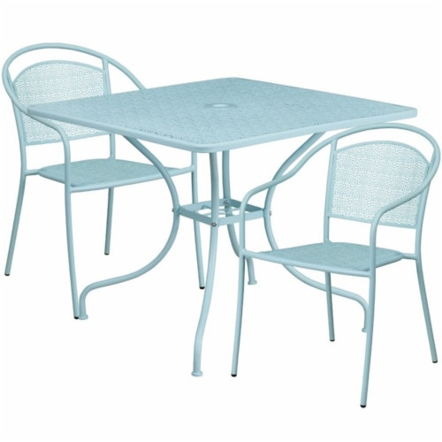 Flash Furniture 3 Piece 36  Square Steel Flower Print Patio Dining Set in Blue Perspective: front