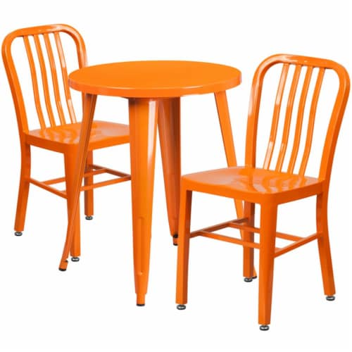 Flash Furniture CH-51080TH-2-18VRT-OR-GG 24 in. Round Orange Metal Indoor & Outdoor Table Set Perspective: front