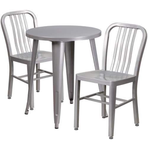 Flash Furniture CH-51080TH-2-18VRT-SIL-GG 24 in. Round Silver Metal Indoor & Outdoor Table Se Perspective: front