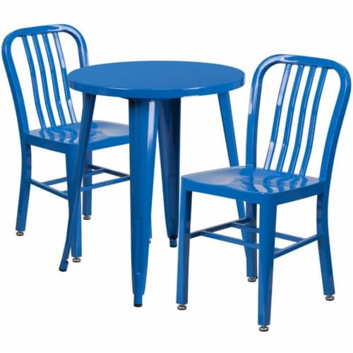 Flash Furniture CH-51080TH-2-18VRT-BL-GG 24 in. Round Blue Metal Indoor & Outdoor Table Set w Perspective: front