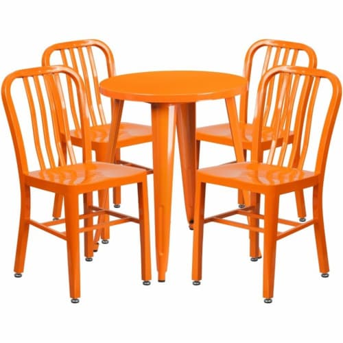 Flash Furniture CH-51080TH-4-18VRT-OR-GG 24 in. Round Orange Metal Indoor & Outdoor Table Set Perspective: front