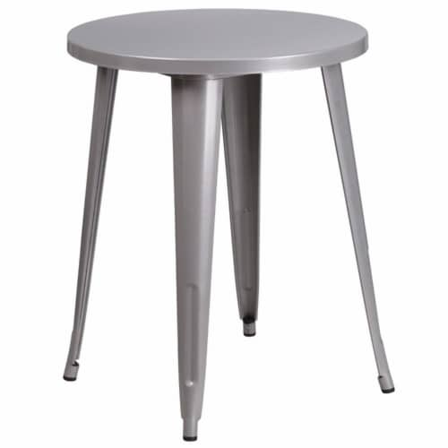 Flash Furniture CH-51080TH-4-18VRT-SIL-GG 24 in. Round Silver Metal Indoor & Outdoor Table Se Perspective: front