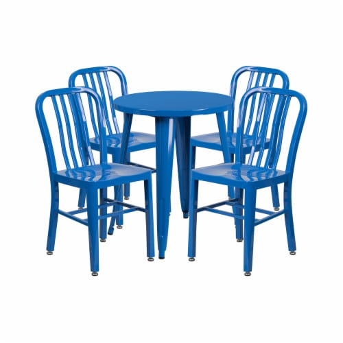 Flash Furniture CH-51080TH-4-18VRT-BL-GG 24 in. Round Blue Metal Indoor & Outdoor Table Set w Perspective: front