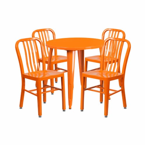Flash Furniture CH-51090TH-4-18VRT-OR-GG 30 in. Round Orange Metal Indoor & Outdoor Table Set Perspective: front
