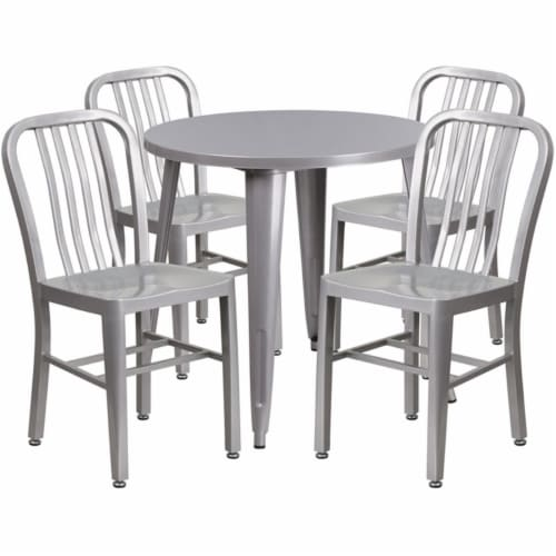 Flash Furniture CH-51090TH-4-18VRT-SIL-GG 30 in. Round Silver Metal Indoor & Outdoor Table Se Perspective: front