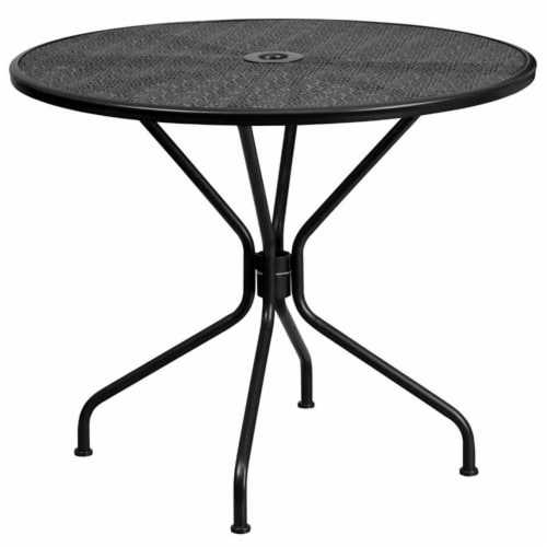 Flash Furniture 35.25  Round Steel Flower Print Patio Dining Table in Black Perspective: front