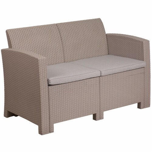 Flash Furniture Wicker Patio Loveseat in Light Gray Perspective: front
