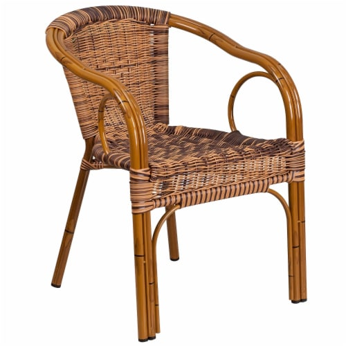Flash Furniture Rattan Chair Aluminum Frame Dark Red Bamboo Perspective: front