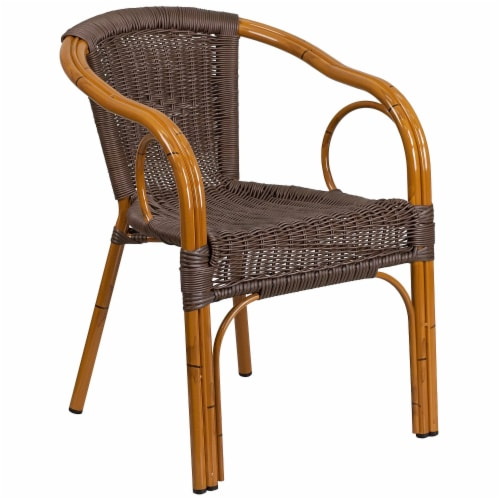 Flash Furniture SDA-AD632009D-2-GG Cadiz Series Dark Brown Rattan Restaurant Patio Chair with Perspective: front