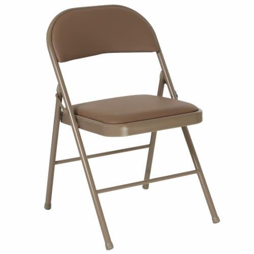 Double Braced Beige Vinyl Folding Chair Perspective: front