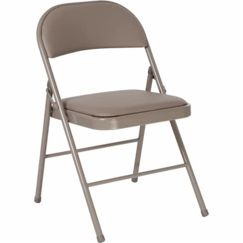 Double Braced Gray Vinyl Folding Chair Perspective: front