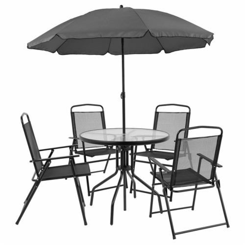 Nantucket 6 Piece Patio Garden Set with Table, Umbrella and 4 Folding Chairs Perspective: front