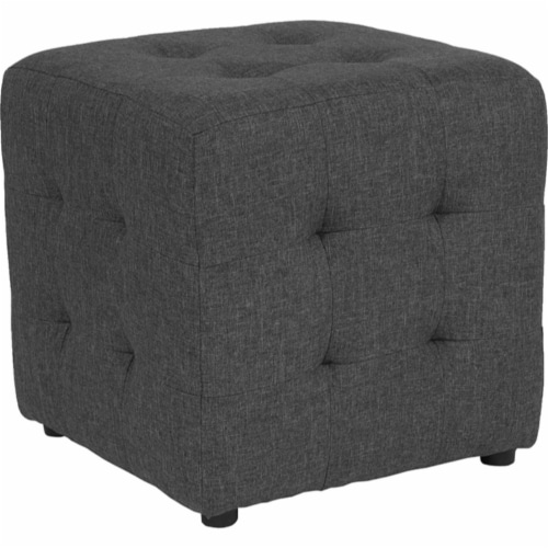 Avendale Tufted Upholstered Ottoman Pouf in Dark Gray Fabric Perspective: front