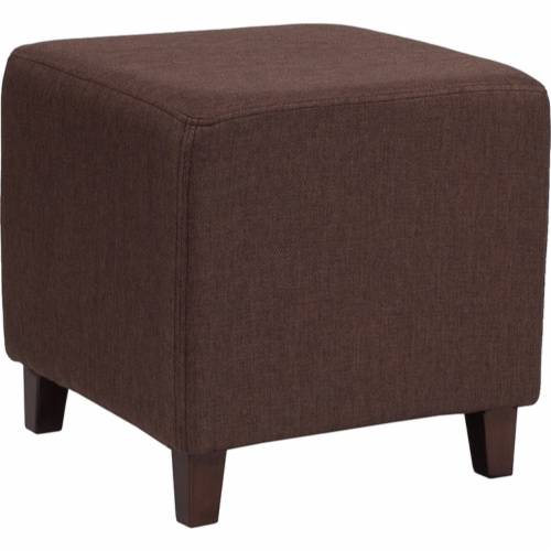 Ascalon Upholstered Ottoman Pouf in Brown Fabric Perspective: front