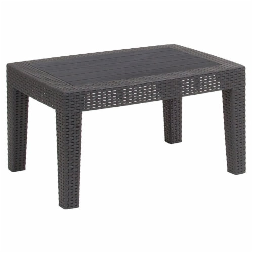 Dark Gray Faux Rattan Coffee Table Perspective: front