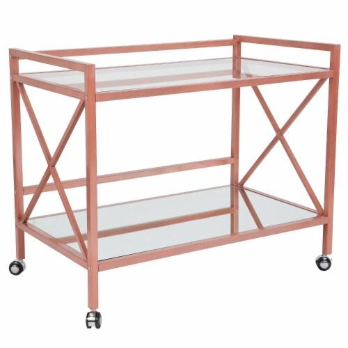 Glenwood Park Glass Kitchen Serving and Bar Cart with Rose Gold Frame Perspective: front