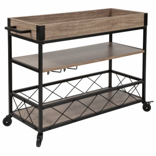 Buckhead Distressed Light Oak Wood & Iron Kitchen Serving & Bar Cart with Wine Glass Holders Perspective: front