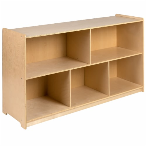 Flash Furniture Wooden 5 Section Storage Cabinet, Kid Friendly Design - 30 Perspective: front
