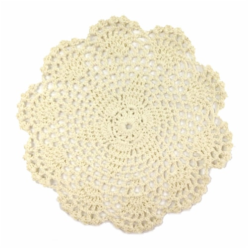 Wrapables Large Beige Round Crochet Cotton Doily Placemat, Set of 4 Perspective: front