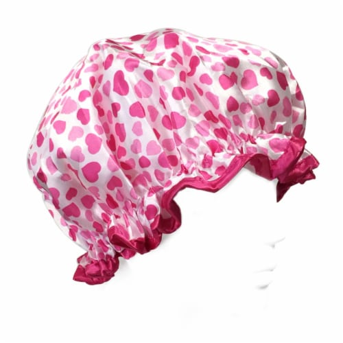 Wrapables Trendy Satin Shower Cap, Pink Sweet Hearts Perspective: front