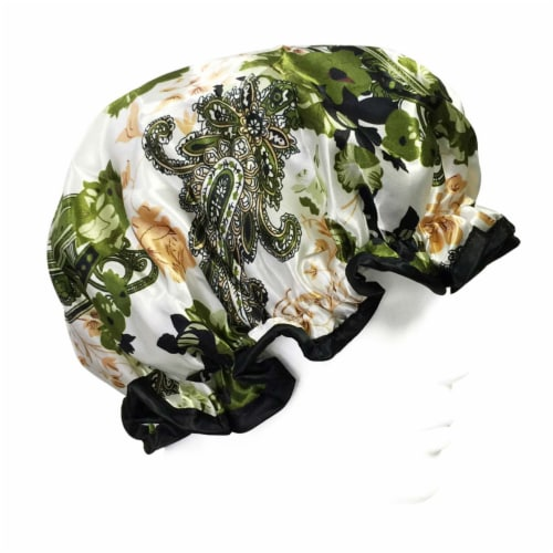 Wrapables Trendy Satin Shower Cap, Paisley Foliage Perspective: front
