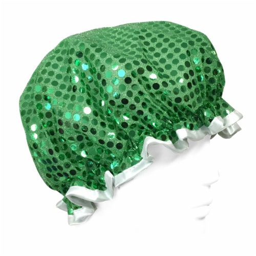 Wrapables Trendy Satin Shower Cap, Green Glitter Perspective: front