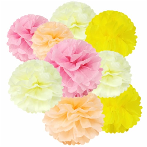 Wrapables Set of 12 Tissue Pom Pom Party Decorations, Pink/Peach/Ivory/Yellow Perspective: front