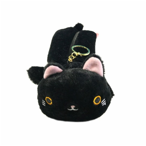 Wrapables Cute Cat Pouch Plush Pencil Case, Midnight Perspective: front