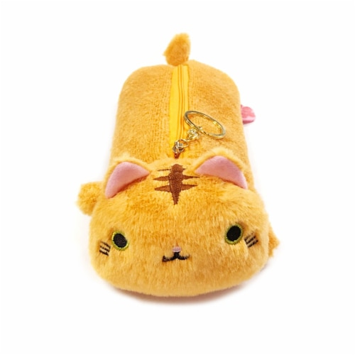Wrapables Cute Cat Pouch Plush Pencil Case, Tabby Perspective: front