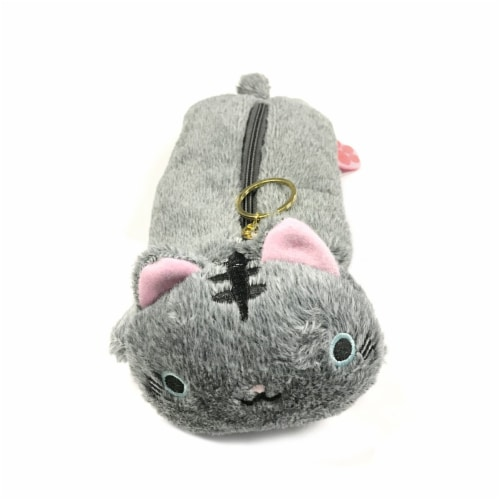 Wrapables Cute Cat Pouch Plush Pencil Case, Gray Perspective: front