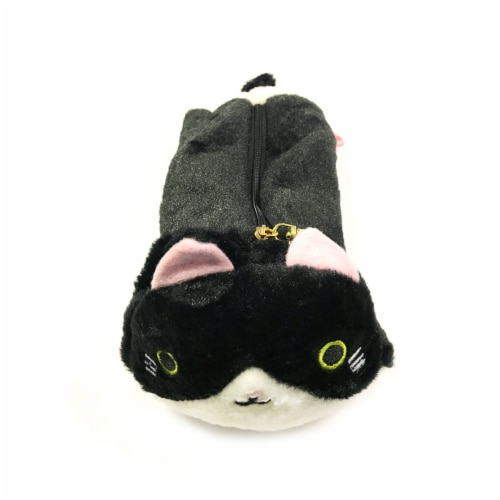Wrapables Cute Cat Pouch Plush Pencil Case, Black and White Perspective: front