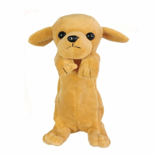 Wrapables Cute Puppy Pouch Plush Pencil Case, Gold Retriever Perspective: front