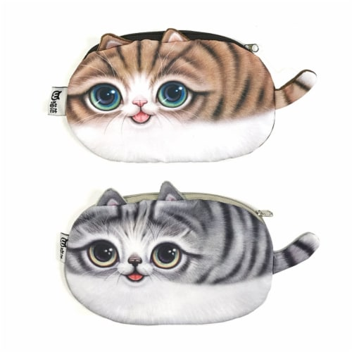 Wrapables Cat Face Cosmetic Pouch Pencil Case (Set of 2), Playful & Happy Perspective: front