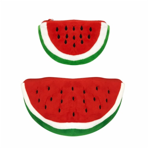 Wrapables Fruity Pencil Case and Pouch (Set of 2), Red Watermelon Perspective: front