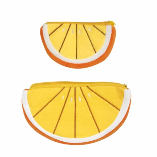Wrapables Fruity Pencil Case and Pouch (Set of 2), Orange Perspective: front