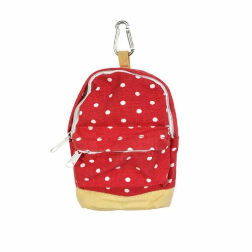 Wrapables Mini Backpack Pencil Case Pouch, Red Perspective: front