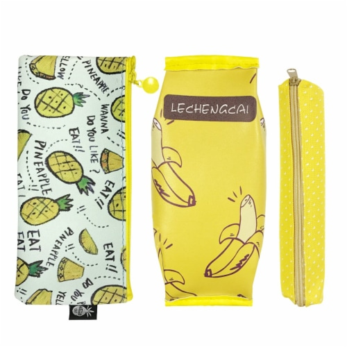 Wrapables Trendy Food Pencil Case and Stationery Pouches (Set of 3), Yellow Perspective: front