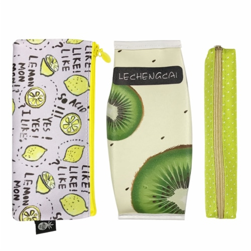 Wrapables Trendy Food Pencil Case and Stationery Pouches (Set of 3), Green Perspective: front