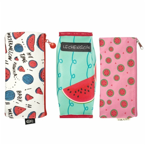 Wrapables Trendy Food Pencil Case and Stationery Pouches (Set of 3), Watermelon Perspective: front
