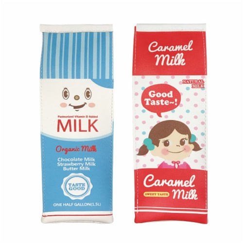 Wrapables Novelty Milk Carton Pencil Case Stationery Pouch (Set of 2) Perspective: front