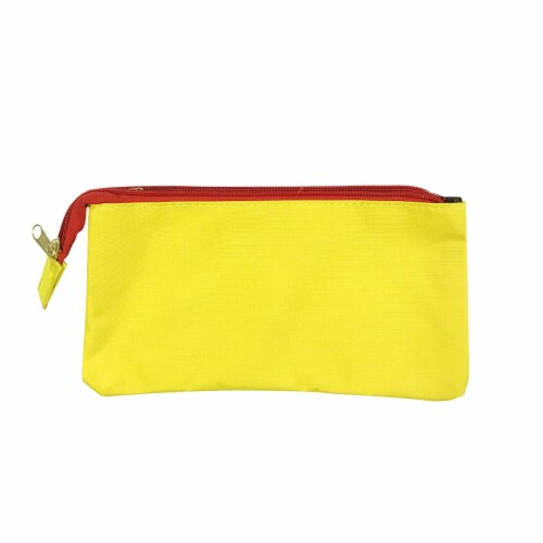 Wrapables Three Layer Multifunctional Pencil Case Cosmetic Bag, Yellow Perspective: front