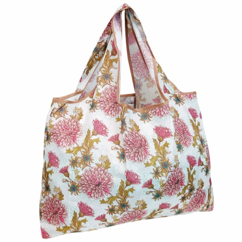 Wrapables Large Nylon Reusable Shopping Bag, Vintage Chrysanthemums Perspective: front
