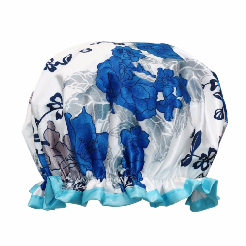 Wrapables Reusable Women's Waterproof Shower Caps for Long Hair, Blue Floral Perspective: front