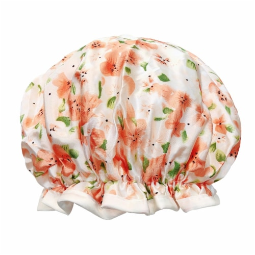 Wrapables Reusable Women's Waterproof Shower Caps for Long Hair, Peach Floral Perspective: front