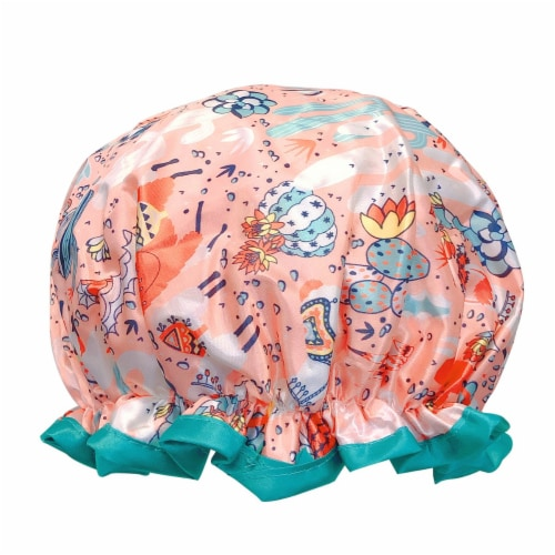 Wrapables Reusable Women's Waterproof Shower Caps for Long Hair, Desert Fun Perspective: front