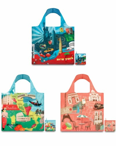 LOQI Urban Reusable Shopping Bags (Set of 3), New York, Italy, Paris Perspective: front