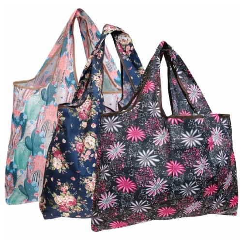Wrapables Large Nylon Reusable Shopping Bags (Set of 3), Floral Fun Perspective: front