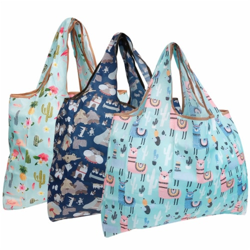 Wrapables Large Nylon Reusable Shopping Bags (Set of 3), Flamingoes, Dogs, Llamas Perspective: front