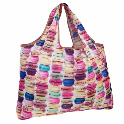Wrapables Large Nylon Reusable Shopping Bag, Macarons Perspective: front