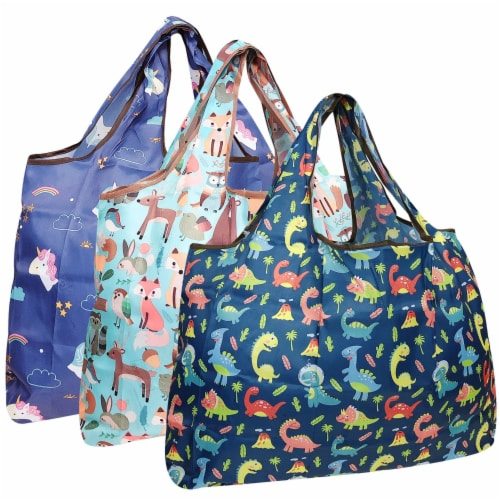 Wrapables Large Nylon Reusable Shopping Bags (Set of 3), Amazing Animals Perspective: front
